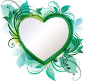 Green Heart Floral Background — Vector de stock