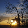 Stock Photo: Chinese arbor and sunset. Pyatigorsk