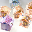 Expensive houses from euro banknotes — Photo