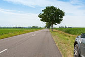 Road to horizon and car on te roadside — Stock Photo