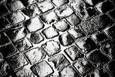 Wet cobbled roadway — Stock Photo