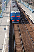 Electric train on passing — Stockfoto