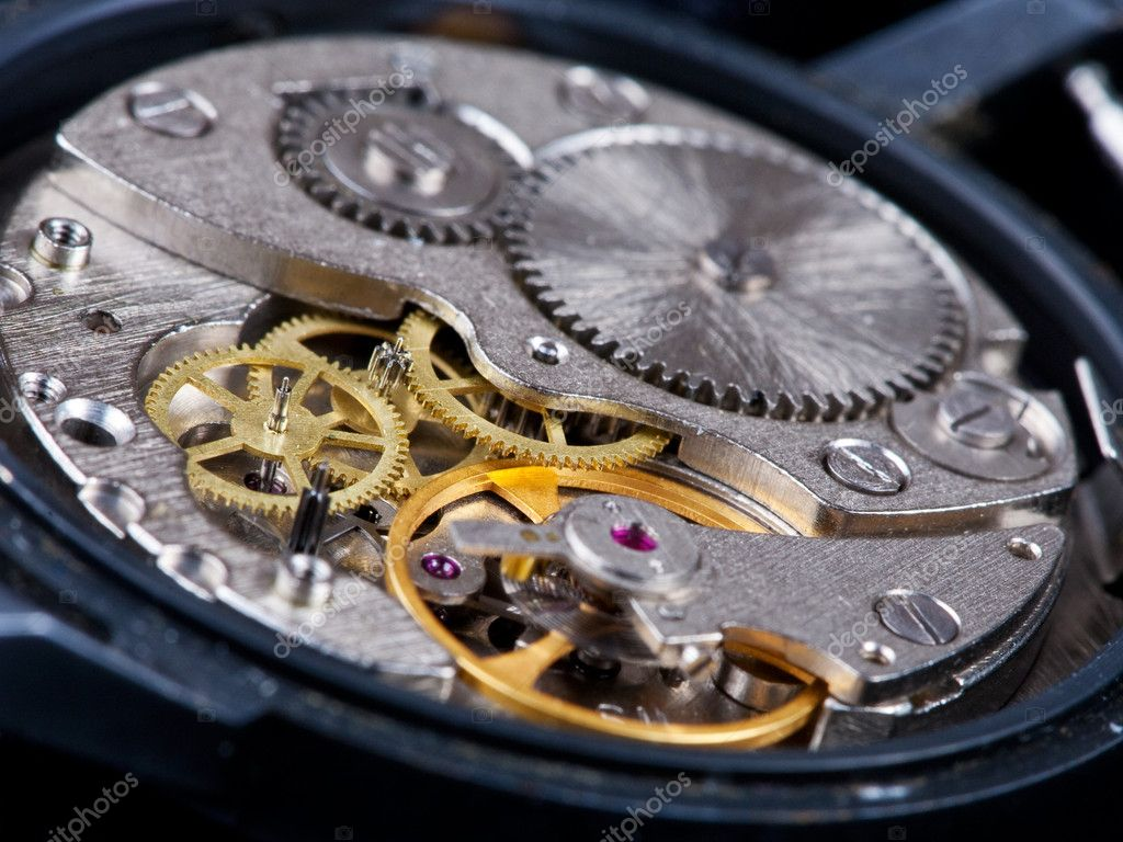 Disassembled open old black wristwatch — Stock Photo #5719253