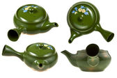Green ceramic teaport — Stock Photo