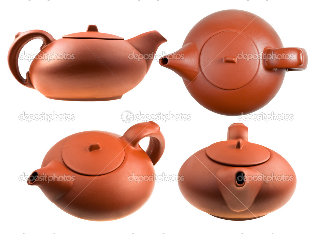Brown Chinese teapot isolated on white — Stock Photo #5720093