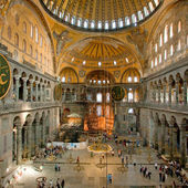 Interior of Aya Sophia - ancient Byzantine basilica — Stock Photo