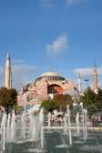 Haghia Sophia through fountain on Sultanahmet square — Stock Photo