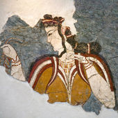 Fragment of fresco from Santorini — ストック写真