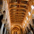 Gold painted ceiling of Monreale Cathedral - Stock Photo