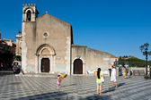 Gothic style church Sant Agostino in Taormina, Sicily — Stock Photo