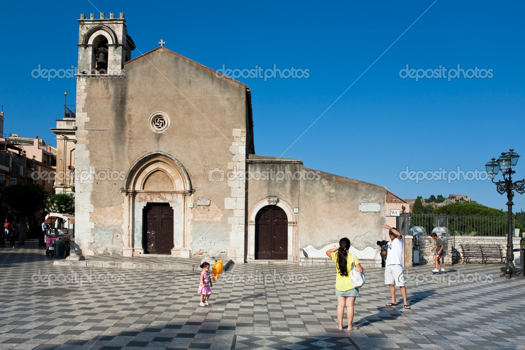 TAORMINA ITAL JULY 2 medieval Gothic style church Sant Agostino on