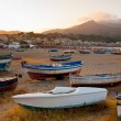 Stock Photo: Boats on beach at sunset