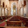 Interior of the medieval Cathedral in Cefalu, Sicily, Italy - Stok fotoğraf