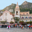 Evening on central square in Taormina, Sicily — Stock Photo