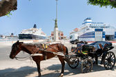 Horse-drawn taxi in seaport in Palermo — Stock Photo