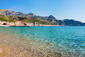 View on Taormina and Gardini Naxos beach, Sicily — Stock Photo