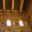 Ancient gold mosaic in Cefalu cathedral - Stock Photo
