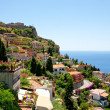 View on town Taormina from Castelmola, Sicily — Stock Photo #6392170
