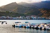 Sunset in port of Giardini Naxos — Stock Photo