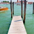 Pier on San Marco Canal and view on San Giorgio Maggiore, Venice — Stock Photo