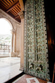 Ancient Norman bronze door in Duomo di Monreale — Stock Photo