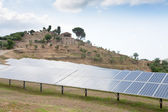 Solar battery plant in country, Sicily — Stock Photo