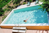 Open air pool in country house yard — Stock Photo