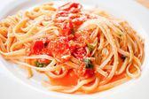Spaghetti with spicy tomato sauce — Stock Photo