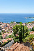 View on town Taormina on Ionian coast, Sicily — Stock Photo