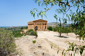 View on Temple on Concordia in Valley of Temples and town Agrigento — Stock Photo