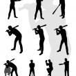 Baseball's silhouette collection - Stock Vector