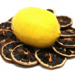 Fresh Lemon and Dry Lemon Slices - Stock Photo
