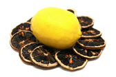 Fresh Lemon and Dry Lemon Slices — Stock Photo