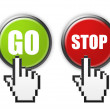 Royalty-Free Stock Photo: Go and stop buttons with hand cursor