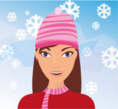Girl in the snow — Stock Vector