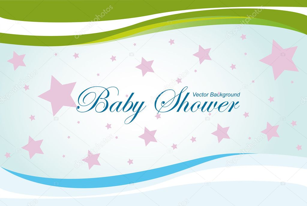 Baby shower vector background, blue, green and pink colors  Stock Vector #6113918