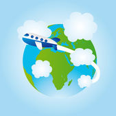 Earth and airplane cartoon — Stock Vector