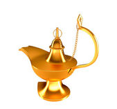 Golden Genie lamp isolated on white — Stock Photo