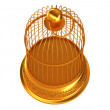 Stock Photo: Confinement: Golden birdcage isolated