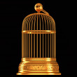 Stock Photo: Golden birdcage isolated on black