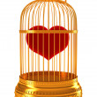 Stock Photo: Imprisoned love: red heart in golden cage