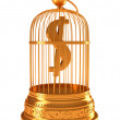US dollar currency symbol in golden birdcage — Stock Photo