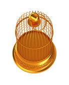 Confinement: Golden birdcage isolated — Stock Photo