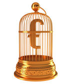 Euro currency symbol in golden birdcage — Stock Photo
