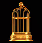 Golden birdcage isolated on black — Stock Photo