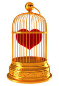 Imprisoned love: red heart in golden cage — Stock Photo