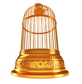 Wide-angle bottom view of golden birdcage — Stock Photo