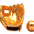 Stock Photo: Sports and leisure: golden baseball glove and ball isolated