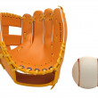 Stock Photo: Sports: baseball glove and ball isolated