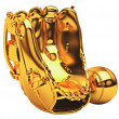 Stock Photo: Sports: golden baseball glove and ball isolated
